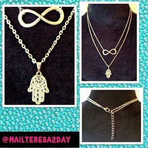 Jewelry - New 2-Link Infinity & Hamsa Hand Gold Necklace